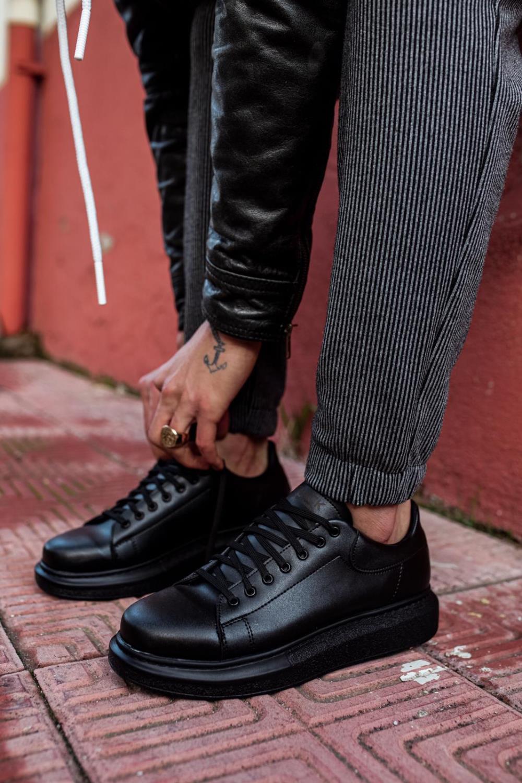 Knack Yüksek Taban Günlük Ayakkabı 044 Siyah (Siyah Taban)