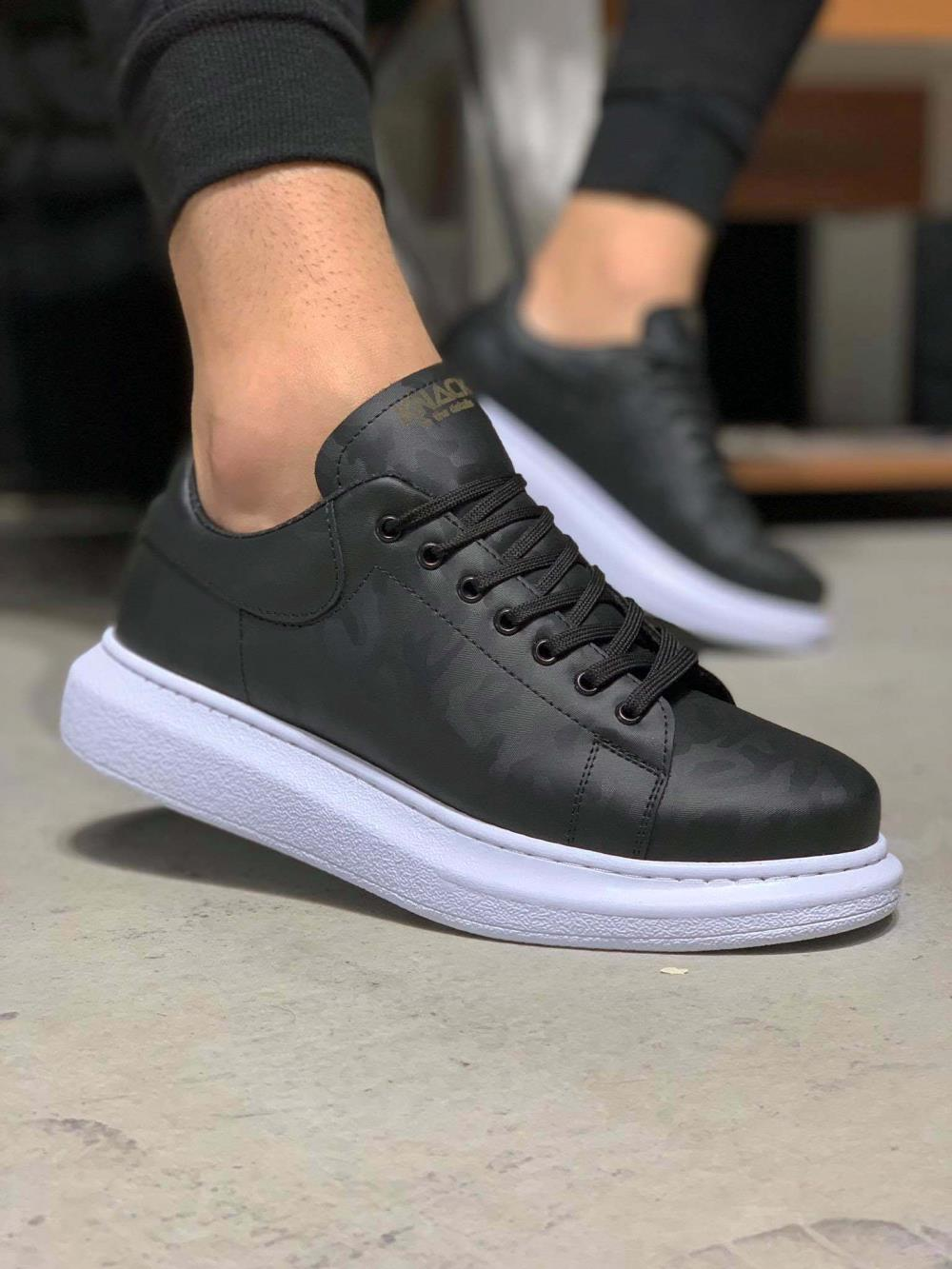 Knack Yüksek Taban Günlük Ayakkabı 044 Siyah Kamuflaj (Beyaz Taba