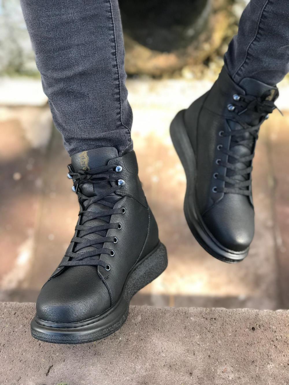 Knack Yüksek Taban Ayakkabı B-080 Siyah (Siyah Taban) m232
