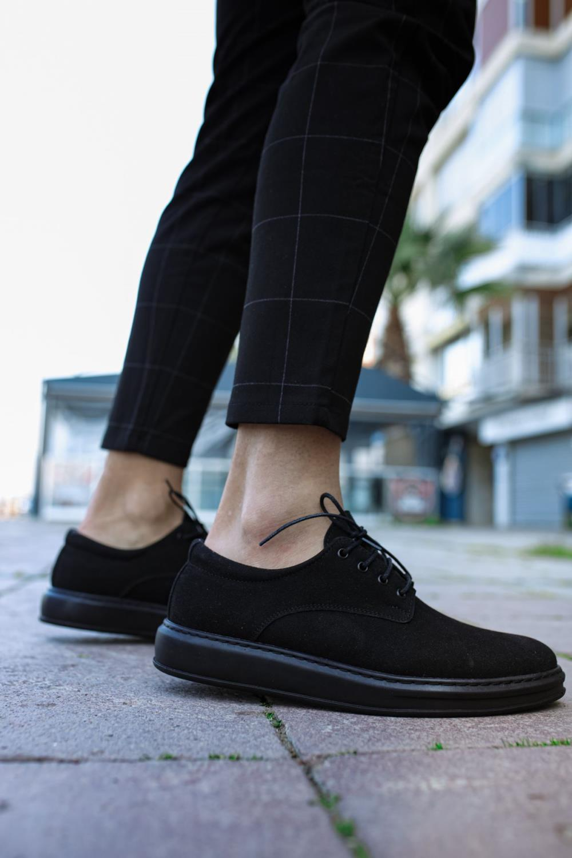 Knack Klasik Erkek Ayakkabı 001 Siyah Süet (Siyah Taban)