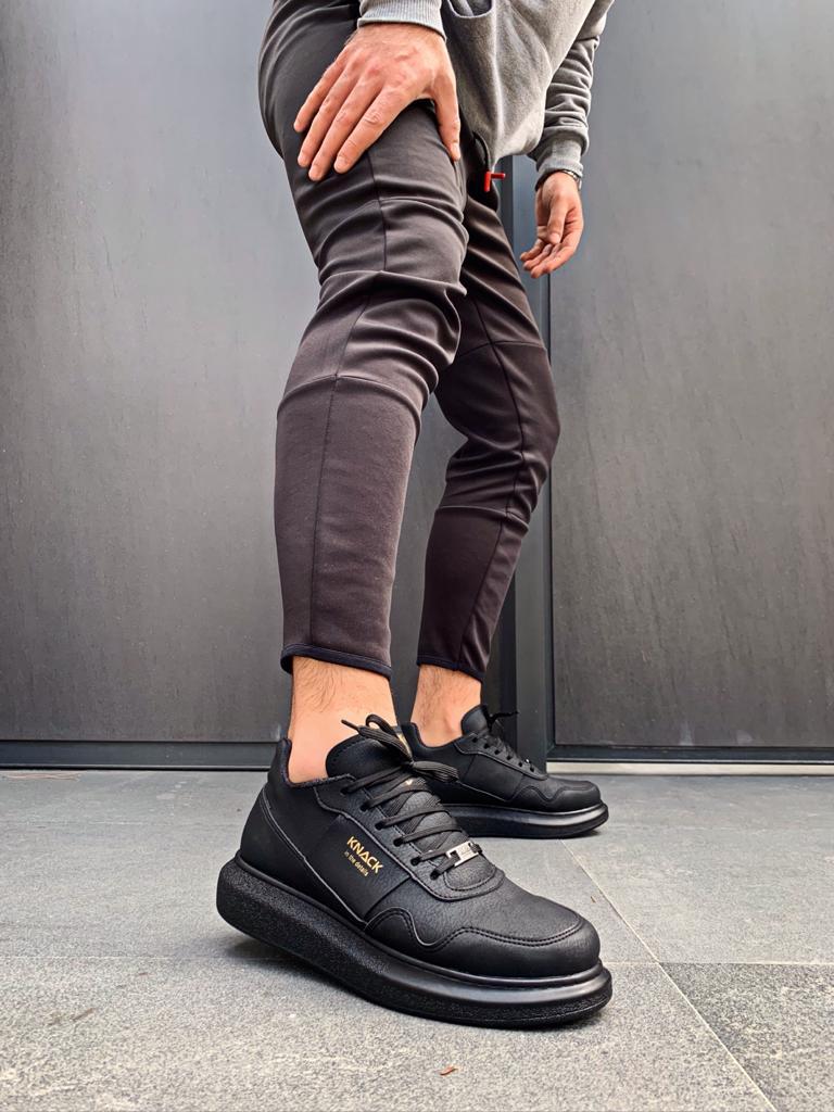Knack Yüksek Taban Günlük Ayakkabı 040 Siyah (Siyah Taban)